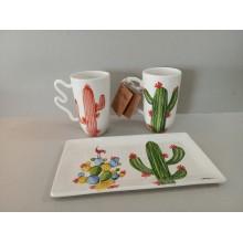 Tazas de cactus con bandeja a juego