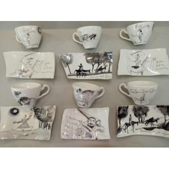Juego de café 6 tazas Don Quijote